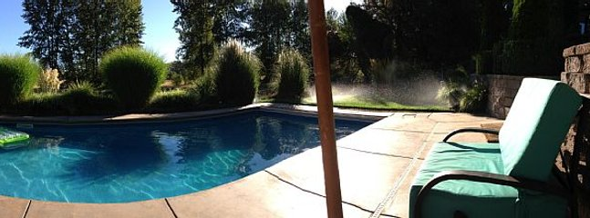 Pool deck out to natural water way