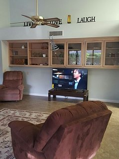 family room - 55 inch smart roku tv cable and wifi