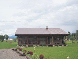 Montana Log Cabin with Glacier National Park Mountain Views.