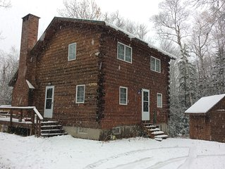 Beautiful Saltbox Log Cabin located in Carrabasset Valley, Maine