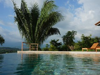 Stunning infinity pool with ocean and mountain views for you to enjoy!