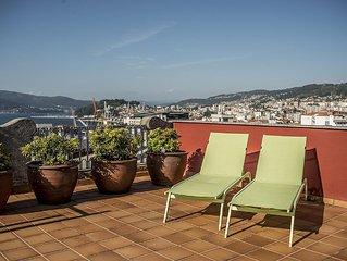 Atico luminoso en el centro de Vigo - Espectacular terraza con vistas a la Ria