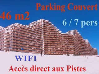 46m2 -7 pers - Covered garage -WIFI - Departure Back Ski feet