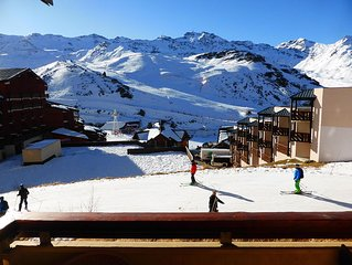 Val Thorens, Reine Blanche 10, south apartment; ski foot for 5/7 pers.
