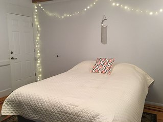 Our private large bedroom and bath  is 2 minutes away from the L train stop.