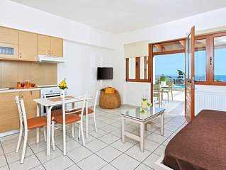 Cozy pool front apartment with amazing sea view in Agia Pelagia Crete (Orange)