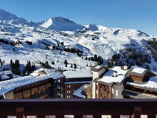 ski rental at the foot Belle Plagne, 4 pers, wifi included, beautiful view