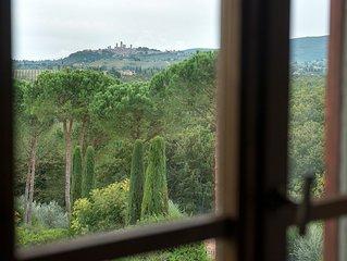 Il Coltro Farmhouse front on S.Gimignano - I CIPRESSI