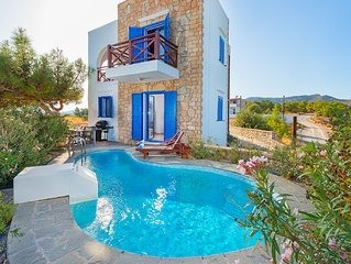 Sea view villa sleeps up to 5 with private pool, great location.