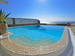 Water front villa with a swimming pool and a fantastic sea view