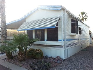 Clean, cozy park model home in Tucson, AZ resort with amenities