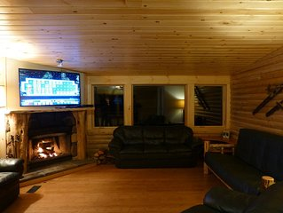 Stowe Log Cabin: Wood Fireplace, Hot Tub, Outdoor Fire Pit, Mountain Views