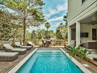 Brand new home with outdoor kitchen, private pool, and peek-a-boo gulf views: B