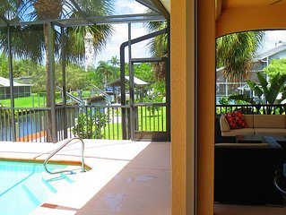 NEW! SF Home on canal -SCREENED Private Pool Near Beaches&Golf in Bonita Springs