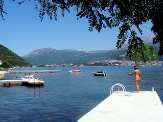 Beautiful shoreline holiday home with private mooring, Njivice, Montenegro
