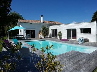 Grande villa avec piscine, sur le Bassin d'Arcachon, 4 chambres. 15 mn du PILAT