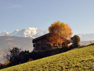 Grand chalet panoramique face au Mont Blanc (180m2) Tout Confort 4*/4 épis