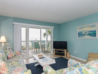 Resort style oceanfront condo with large deck and great view