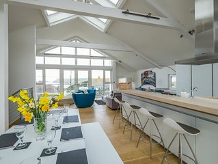 A contemporary designer 4 bed home with lovely views over Polzeath Beach