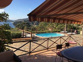 Bas de villa, 3-4 ch, piscine privee, vue mer splendide a 7 min de plage de sabl