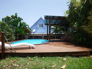 Villa for 6 people, swimming pool, sea view, close to Sainte Anne beaches