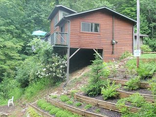 Enjoy the sound of the Waterfall right off the back deck
