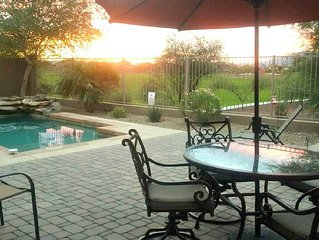 Beautiful comfy home, with views, pool, close to golf, baseball, NFL, and Nascar