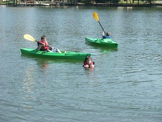Kayaks, paddle boat, row boat, canoe - Free to use! Family and pet friendly!