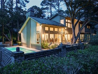 Updated Sea Pines Home On Beach Path, Private Pool, Great Outdoor Space & Game