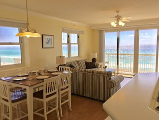 3BR/3BA End Unit: Low 4'th floor!!   Wrap around Balcony. Free Beach Service!