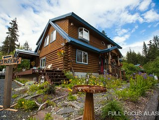 Come enjoy the peace and comfort of our beautiful, custom built Alaskan log home