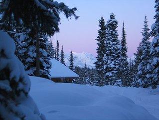 Cabin nestled in Whitefish Range overlooking Moose Creek, north of Polebridge
