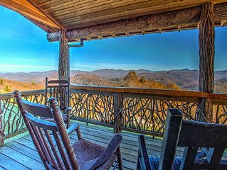 Top of the World; and views to prove it!  Spectacular mountain cabin.