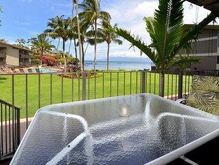 The old Hawaii feeling! Oceanfront condo #113, ground floor.