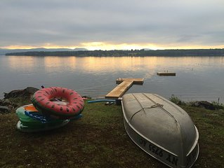 No Road to Cross! 75ft Lakefront, Sunset View, Swimming and Floating Docks