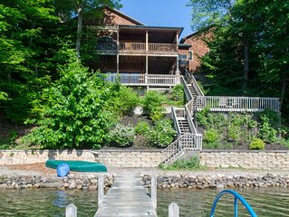 "Crooked Lake Lodge:""A Lakefront Adirondack Style Home w/ Hot Tub """
