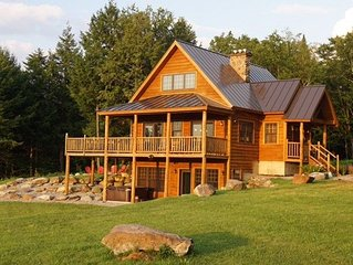 LAZY BEAR LODGE - Authentic Log Home, hot tub, views, new construction Book Now
