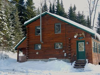 QUAINT LOG CABIN WITH PRIVACY AND SNOWMOBILE TRAIL ACCESS RIGHT FROM THE YARD.
