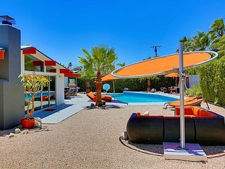 'Orange Oasis' Mid Century Modern, Pool & Mountain Views