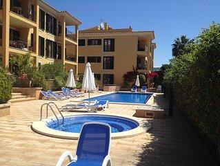 In Port Andratx near Club de Vela 5 mins walk to Port & Marina baby beach .