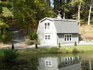 Cozy Flat Rock Cottage on pond, 2 miles to everything!...Read our 5 star reviews