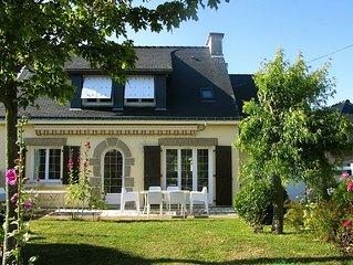 Morbihan villa 5/9 pers. 4 ch. plage a 60m, label 3 etoiles, wifi gratuit