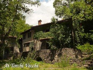 Antico mulino sul fiume,nei boschi della Toscana. Piscina privata, palestra.