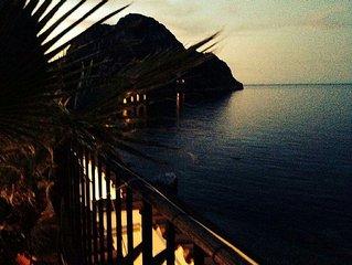 Luxury beachside villa with  evergreen plants terrace and sea views