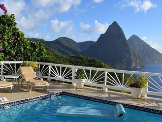 Updated, spacious, serene Soufriere villa with perfect sunsets and Piton views