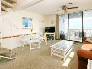 Beach-front 2br/2ba loft condo with 2 balconies overlooking ocean!