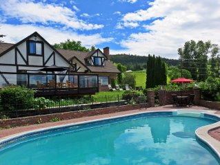 Lakeview 5BR Tudor Home with Pool In Wine Country