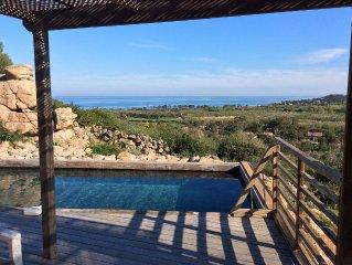 Villa très calme belle vue mer, 9 p, piscine, 3 ch, Porto Vecchio Pinarello
