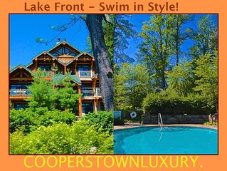 The Ultimate Dreams Park Rental! Handcrafted Log Condo/Heated Pool, Otsego Lake