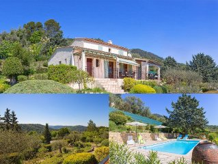 Cote d 'Azur; air-conditioned villa with pool, superb view on 2000sqm property